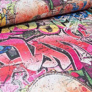 Erismann Rustic Brick Graffiti Multi Red Yellow Textured Feature Wallpaper