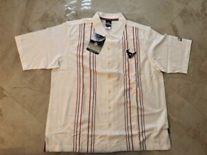 Houston Texans Dress Polo Shirt Large Reebok NFL Full Button Up Embroidered NFL