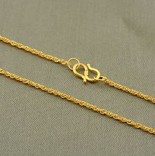 Pure 24K Solid Yellow Gold Women Hinge Double Set Of Chain Necklace 2.7g/16''