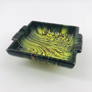 Vintage Murano Art Glass Vincenzo Nason Weil Black Yellow Ashtray Aventurine