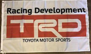 TRD White Flag 3x5 Toyota Racing Development Banner  Motor Sports Car Garage