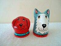"Vintage Set Of Dog Heads Salt & Pepper Shakers "" GREAT COLLECTIBLE SET """