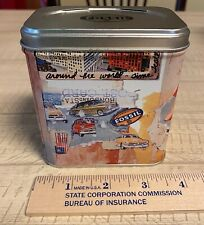 Vintage Fossil Watch Tin 1999 Postcard Pictures/Foam in Box