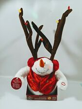 Gemmy Christmas Animated Snowman w/ Reindeer Antlers Sings Let It Snow Lighted