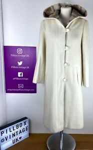 70s Womens C&A Cream White Wool Mohair Blend Hooded Coat Size 10-12