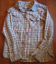 VANILLA STAR Womens Shirt Western Style w/Pearl like Snaps Green Plaid Size L
