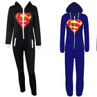 Stunning Unisex Mens And Women Ladies Superman Print Hooded Onesie Jumpsuit