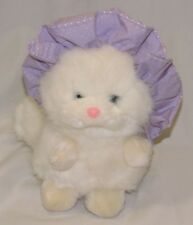 Applause Stuffed Plush Carley Cat Kitten Kitty White Persian Purple Bonnet
