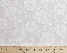 "Stretch Lace Roses Flowers Floral 54"" Wide Fabric by the Yard - White D170.31"