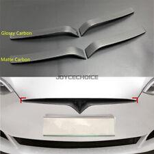 For Tesla Model S 2015 -19 Car Front Engine Grill Grille Badge Trim Carbon Fiber