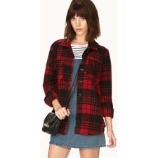 FOREVER 21 RED / BLACK CHECK FLANNEL SHIRT TOP M MEDIUM UK 12 BNWT