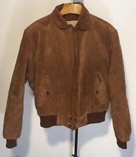 Members Only Bomber Jacket Suede Leather Full Zip Mens 44. Golden Tan Zip Liner