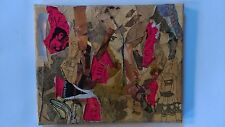 Pink Mamsel in distress small collage painting contemporary art stretched canvas
