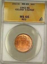 1942 Iceland 5A Five Aurar Copper Coin ANACS MS-65 Red GEM BU (A)