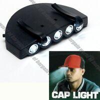 LED Cap Light Clip On Hat Brim Camping Fishing Bike 5 Bulb Headlamp +Battery S19