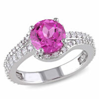 Amour Sterling Silver Created Pink, Created White Sapphire and Diamond Ring