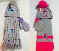 Primark Stitch And LOL Surprise Dolls Girls Hat Scarf & Gloves Grey Sequin