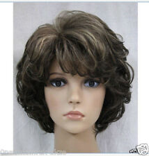 New Fashion Cosplay dark Brown gray Mix Short Curly Women Hair Wig