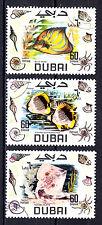 Dubai Sc# 105-106-107 60d Blue Angel, Texas Skate,Butterfly Fish 1969 h941d