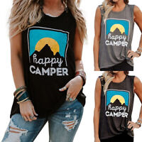 Women Happy Camper Sleeveless Tank Tops T-Shirt Summer Casual Loose Tunic Blouse