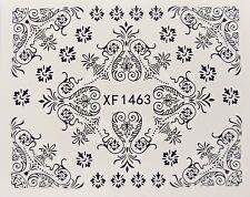 Nail Art Negro Filigrana remolino Encaje Hoja Flor de transferencia de Agua Decal Sticker 1463