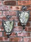 C1875 Shield Form Mirror Backed Tin Candle Wall Sconces. Federal Eagle Finial