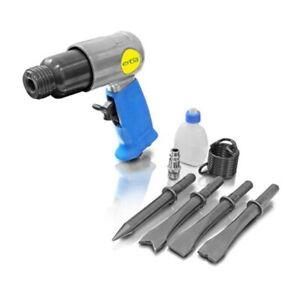 Druckluftmeißel Satz Meißelhammer Druckluft Werkzeug Set Meißel mit Öl-Fla. 8tl