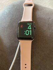 Apple Watch Series 3 38 mm Grey Aluminum Case Tan Sport Band Smartwatch -...