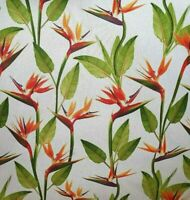 Orange Flowers Cotton Linen Fabric Floral Green Grey Sold by Metre