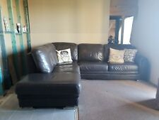 Brown Leather Corner Chaise Couch and recliner