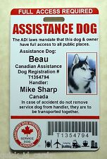 CANADA ADI LAWS SERVICE DOG / PET ID CARD BADGE ID FOR SERVICE ANIMAL TAG 23