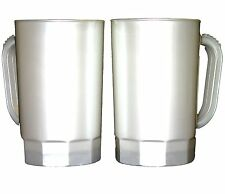 8  Large 32 oz Plastic Beer Mugs Color Pearl White Made  America Dishwasher Safe