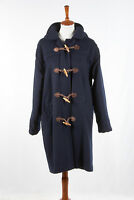 Vintage Womens L.L. BEAN Duffle Coat 14 in Navy Blue Hooded Wool Toggle USA