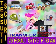 20 FOGLI A6 170 GR CARTA TRANSFER FOTO TESSUT SCURI STAMPANTI GETTO D'INCHIOSTRO