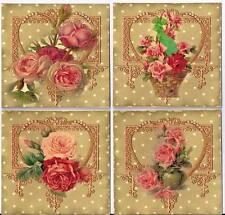 Vintage inspired roses colorful note cards set  8 with envelopes organza bag