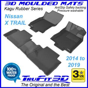 Fits Nissan X-Trail xtrail T32 2014 - 2020 3D Kagu Black Rubber Floor Mats