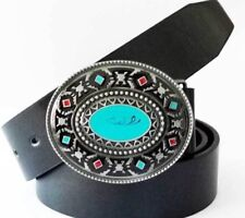 Southwest Native American Turquoise Color Hand painted Belt Buckle western