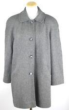 Vintage Alorna Wool Herringbone Tweed Long Midi Peacoat Coat Womens M L Grey