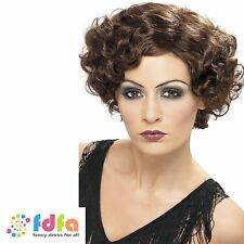 20s BROWN FLAPPER CHARLESTON GATSBY SHORT WAVY WIG - womens ladies fancy dress