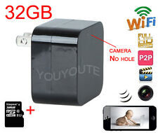 32GB WIFI HD 1080P SPY Hidden Wall Charger Camera Adapter DVR Video Recorder Cam