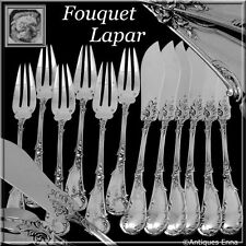 FOUQUET-LAPAR Fabulous French All Sterling Silver Fish Flatware Set 12 pc Rococo