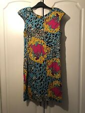 Lipsy Blue Leopard Print, Gold, Pink Great Condition Size 12
