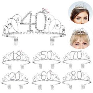 UK-Anniversary Birthday 16/18/40/50/60/70/80/100th Silver Rhinestone Tiara Crown