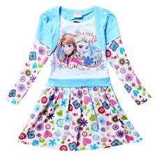 Kinder Frozen Eiskönigin Anna Elsa Blumen Tunika Kleid Mädchen Longshirt 116-122