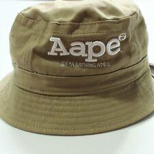 Authentic AAPE by A Bathing Ape Bape Bucket Hat Cap Tan Cream Khaki NWT