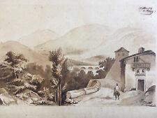 Très beau Dessin Lavis encre 1850 paysage village animé signé