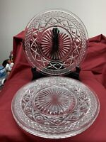"""Crystal Clear Glass Cape Cod Salad 8"""" Luncheon Plates Set Of 3"""