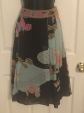 Carlisle- Silk- A-Line- Midi- Multi Color-Pleated- Floral Design- Skirt- Sz 10