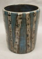 Studio Pottery Vase with Birch Trees Hand PAINTED Signed AMDD 5 inch