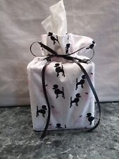 Poodles, black & pink dogs, white cotton Fabric handmade square Tissue Box Cover